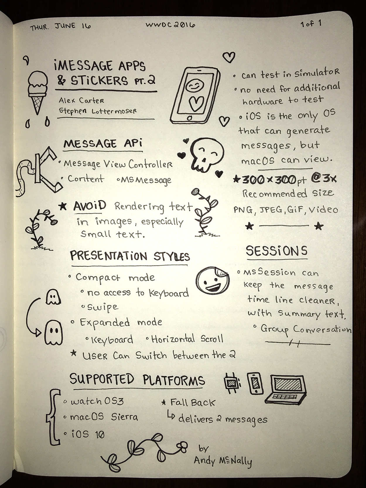 WWDC sketchnotes - iMessage Apps & Stickers Pt. 2