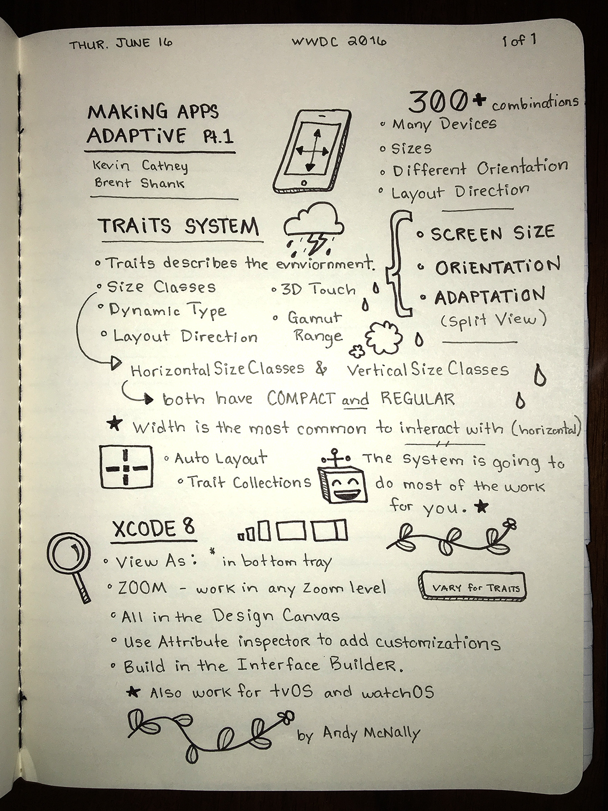 WWDC sketchnotes - Making Apps Adaptive Pt. 1