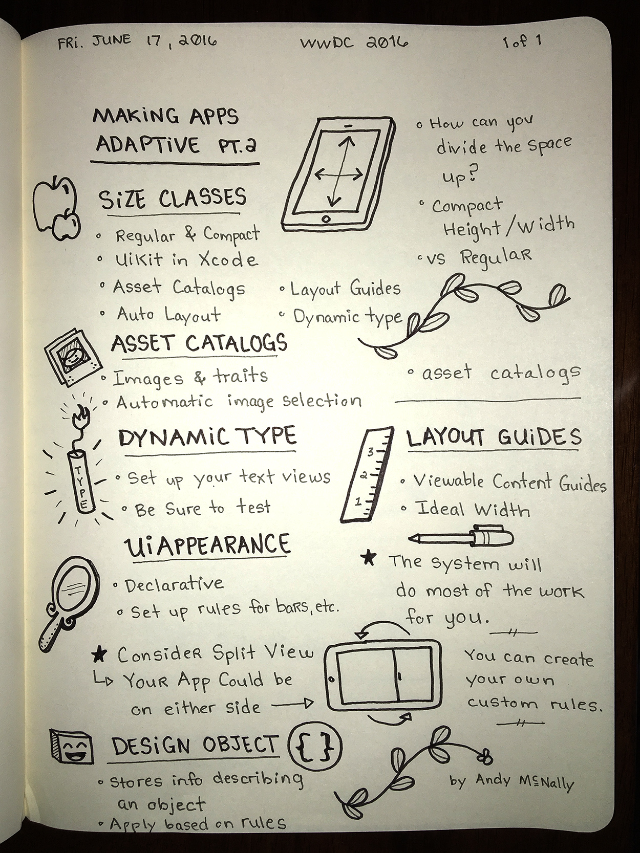 WWDC sketchnotes - Mak\ing Apps Adaptive Pt.2
