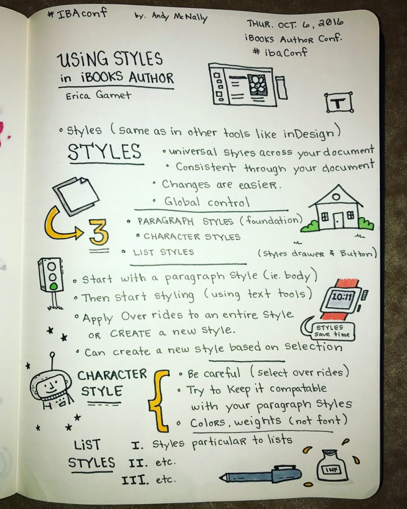 iBooks Author Conference Using Styles session sketchnotes