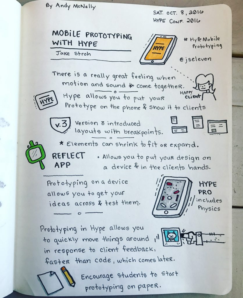 the Hype Conference 2016 Sketchnotes, Mobile Prototyping Session