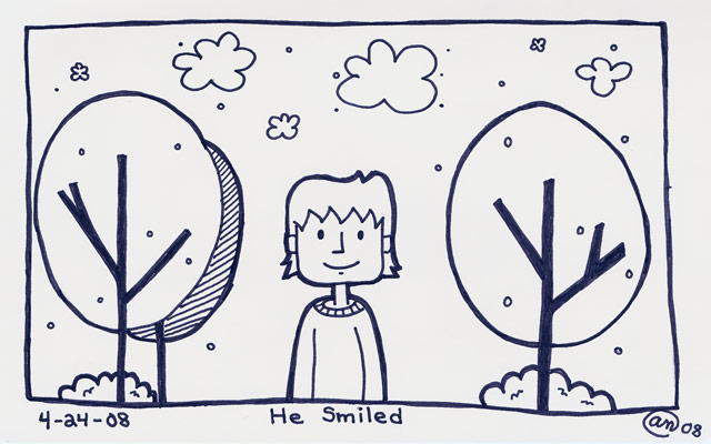 he smiled - original art by Andy McNally