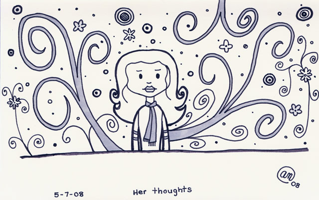 her thoughts - original artwork by Andy McNally