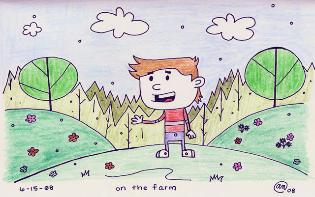 on the farm - original art by Andy McNally