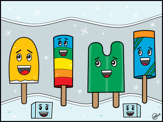 popsicle parade - orginal art by andy mcnally