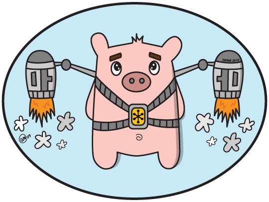 swine flew - original art by andy mcnally