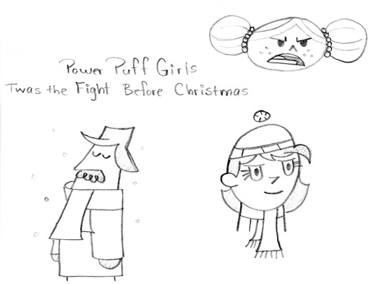 sketches inspired by Power Puff Girls, original art by andy mcnally