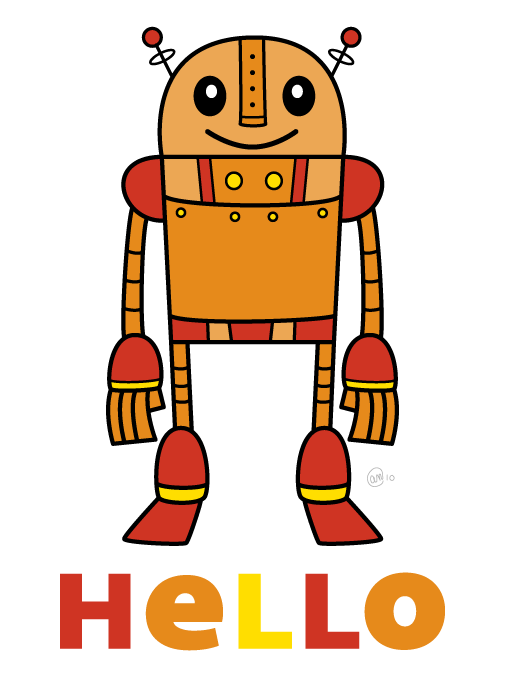 hello robot - original art by andy mcnally