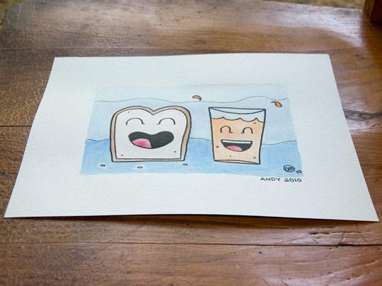 breakfast pals watercolor