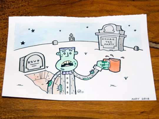 Zombie Tea Party - Original painting by Andy McNally