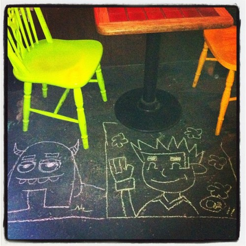 drawing on the floor at the Royal St. Deli in New Orleans