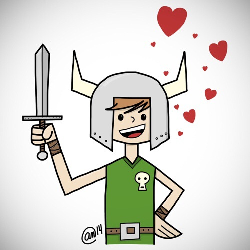 young viking in love digital illustration