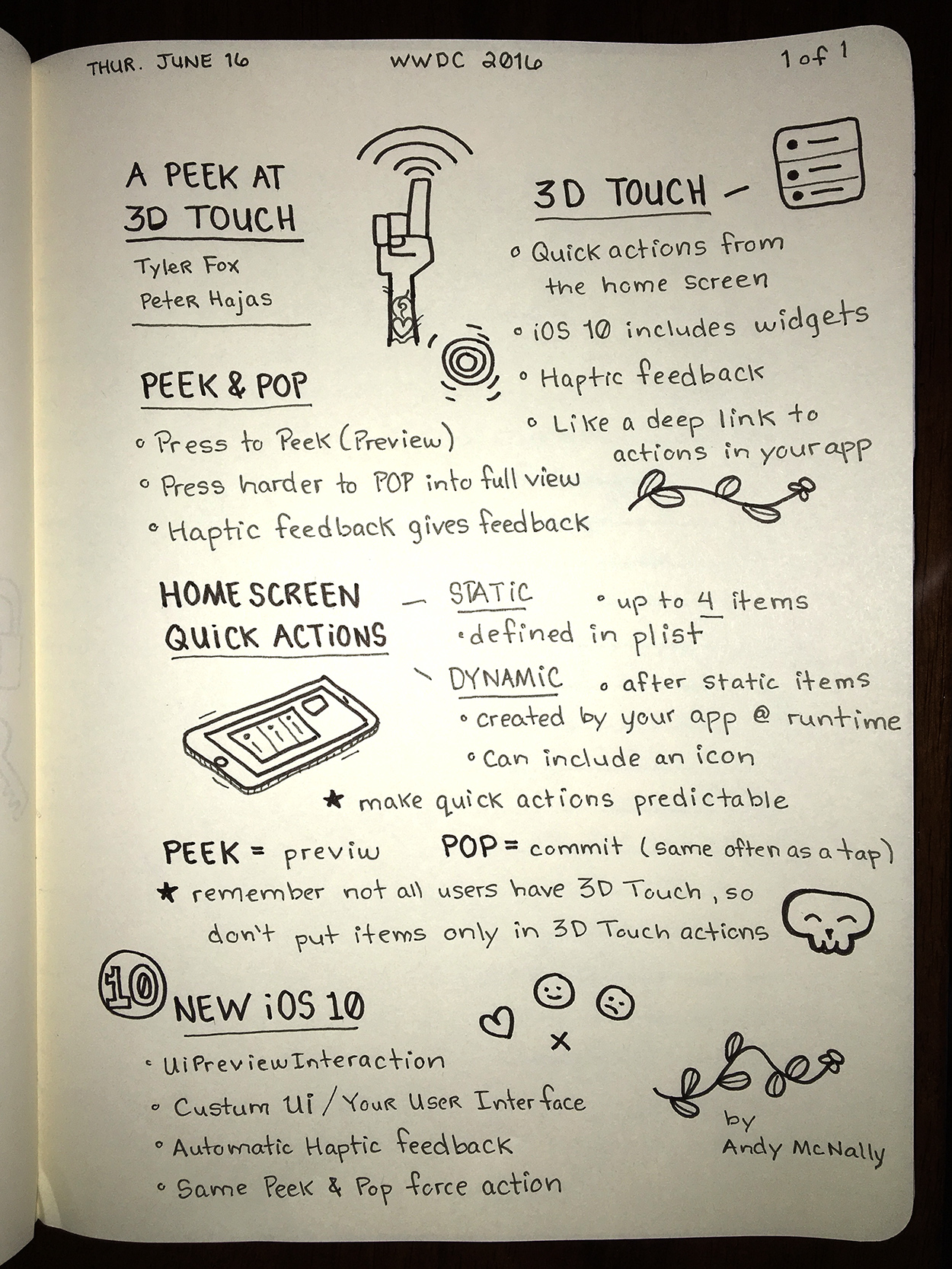 WWDC sketchnotes - A Peek at 3D Touch