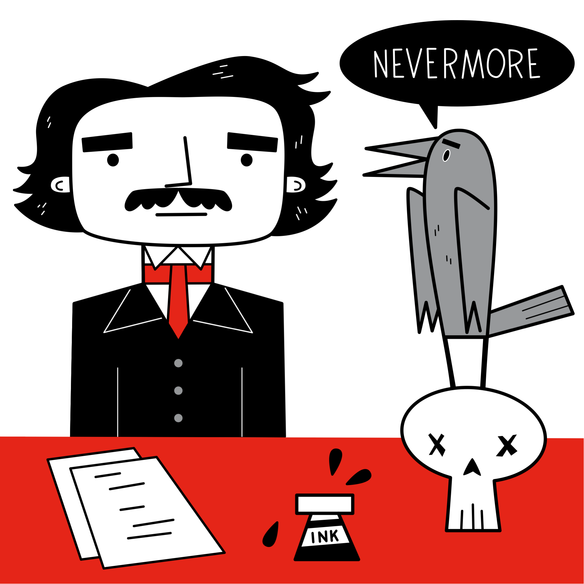 Edgar Allan Poe and the Raven illustration