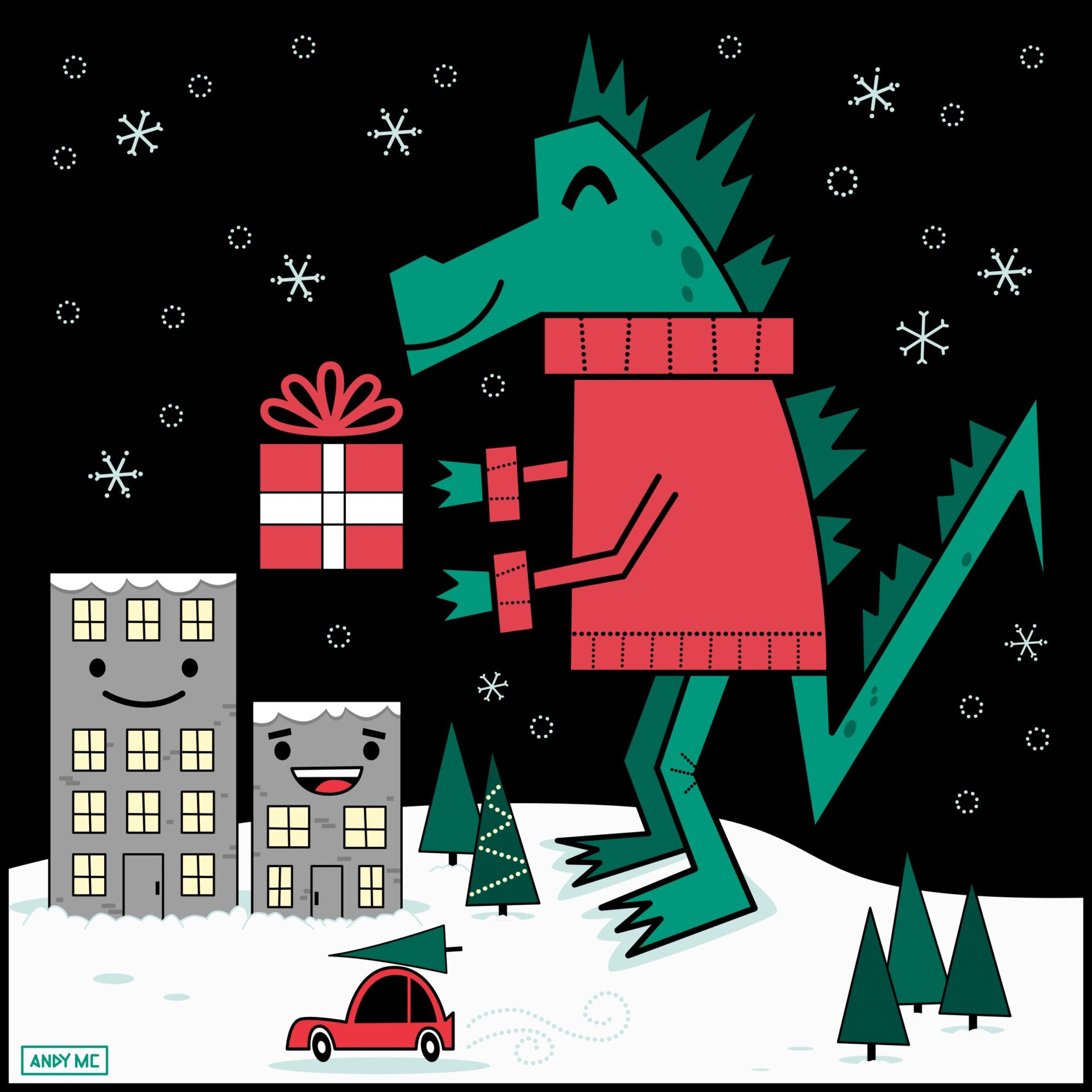 Kaiju Christmas illustration