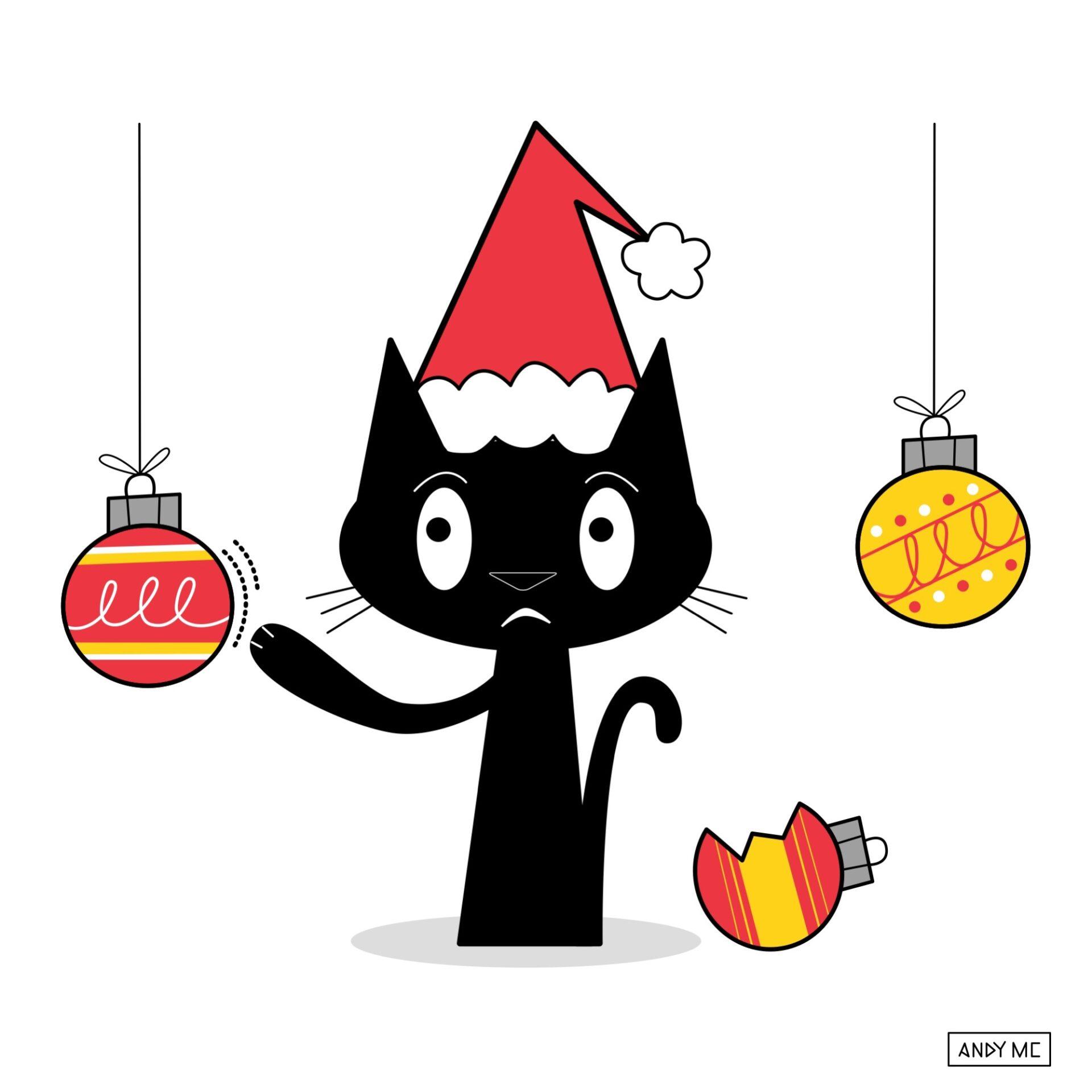 Naught Holiday Cat illustration