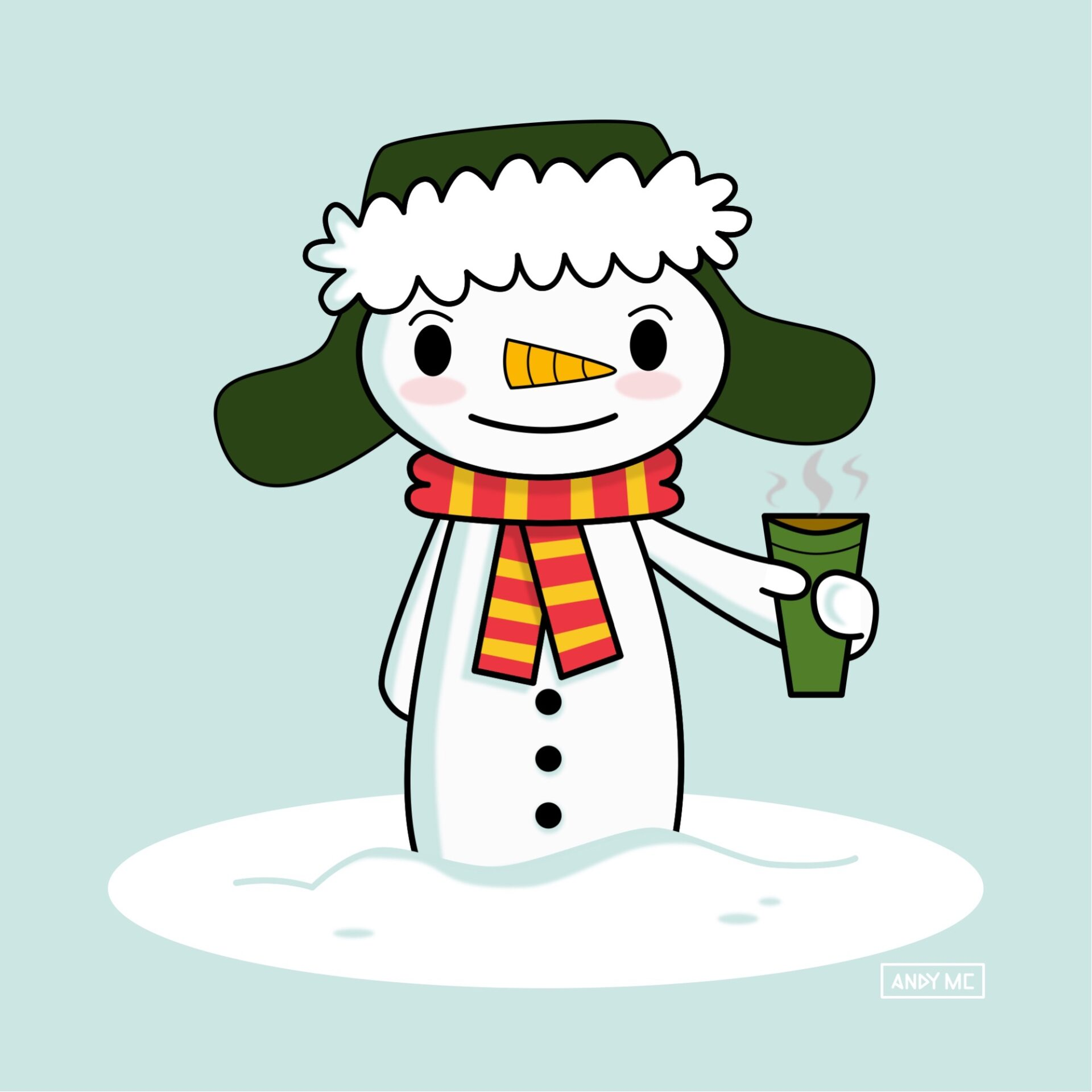 Happy Snowman with coffee