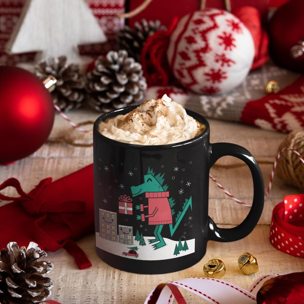 Kaiju Christmas illustration on a coffee mug