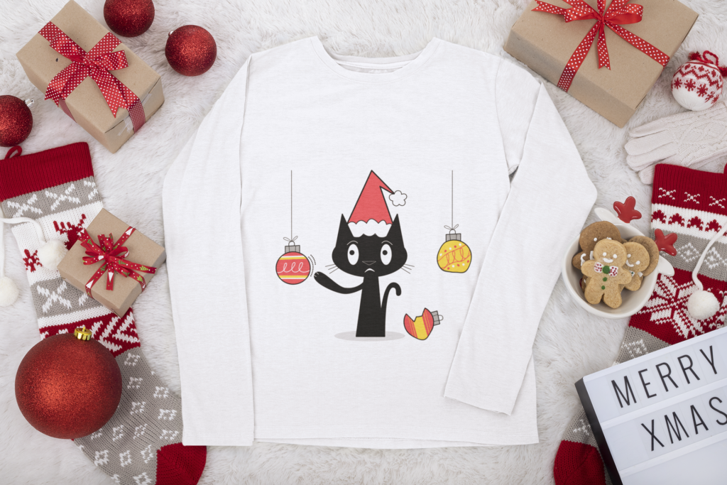 Naughty Holiday Cat long sleeve t-shirt