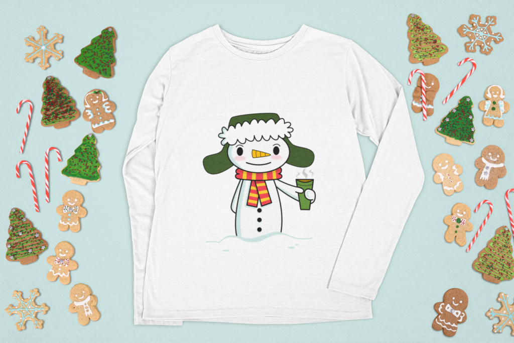 Happy Snowman with Coffee long sleeve t-shirt