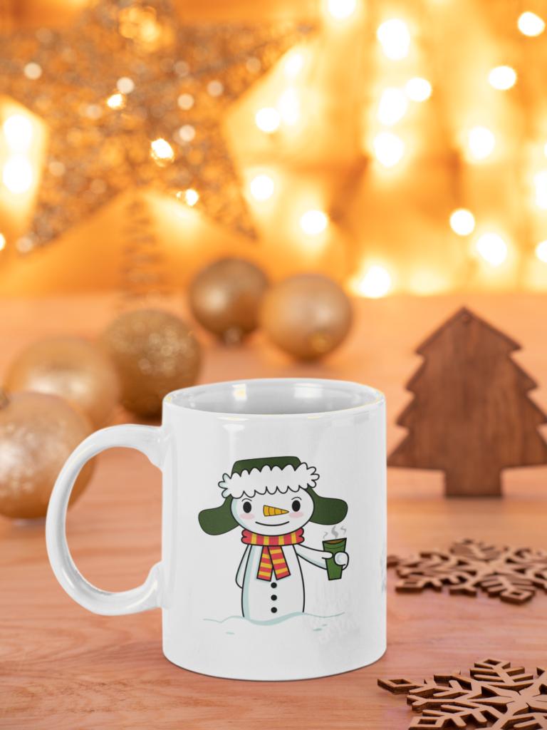 Happy Snowman with Coffee mug