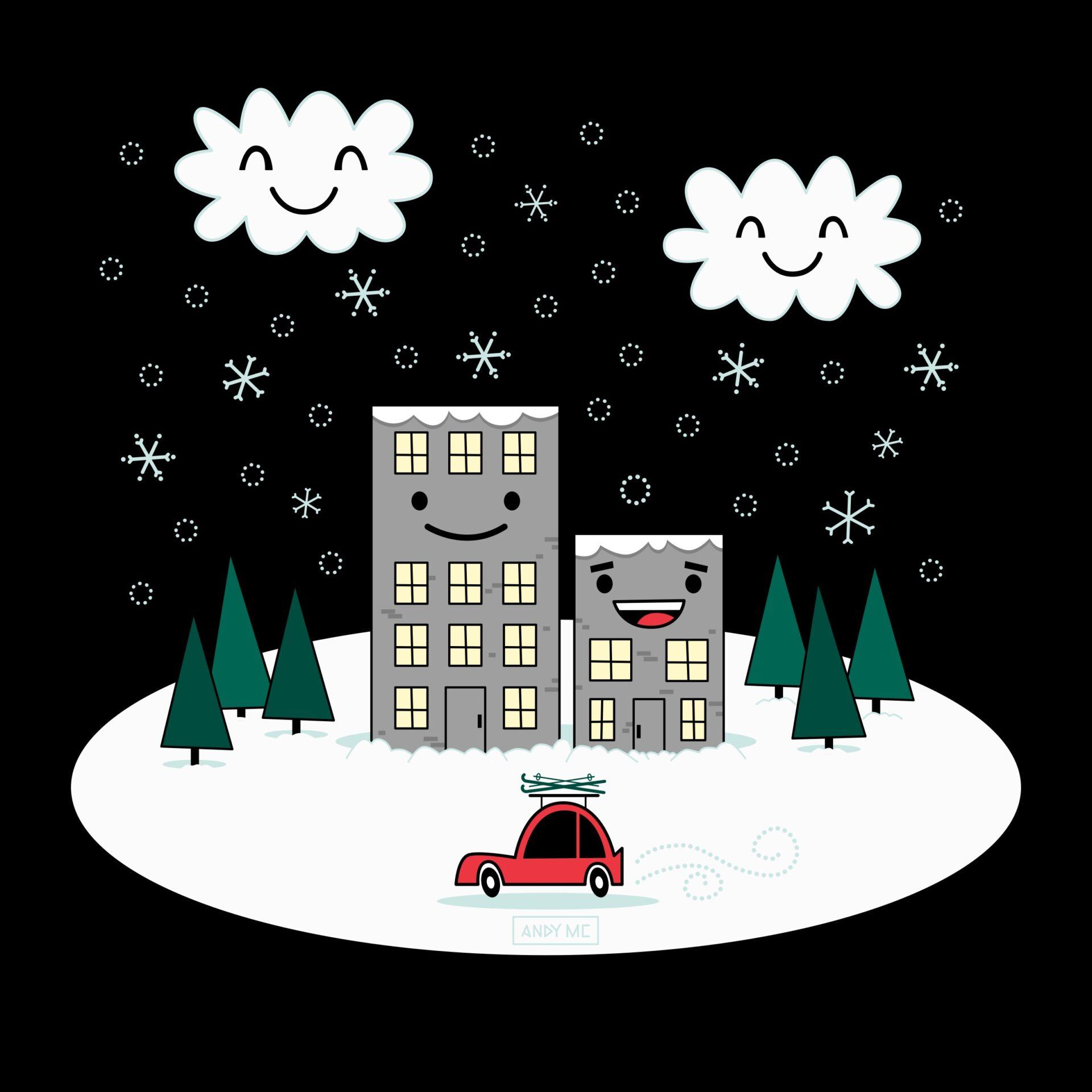 Kawaii Winter Town illustration