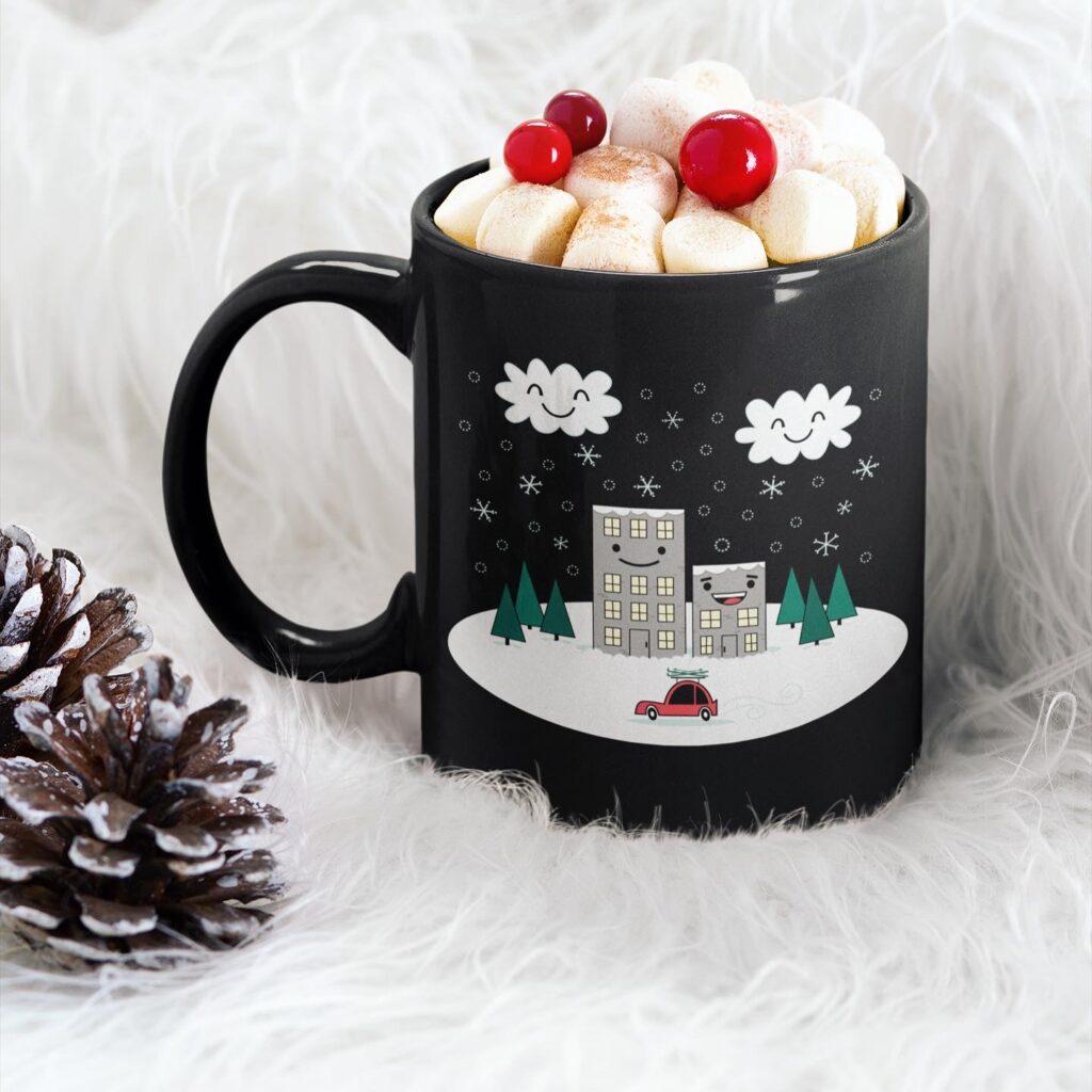 Kawaii Winter Town illustration on coffee mug