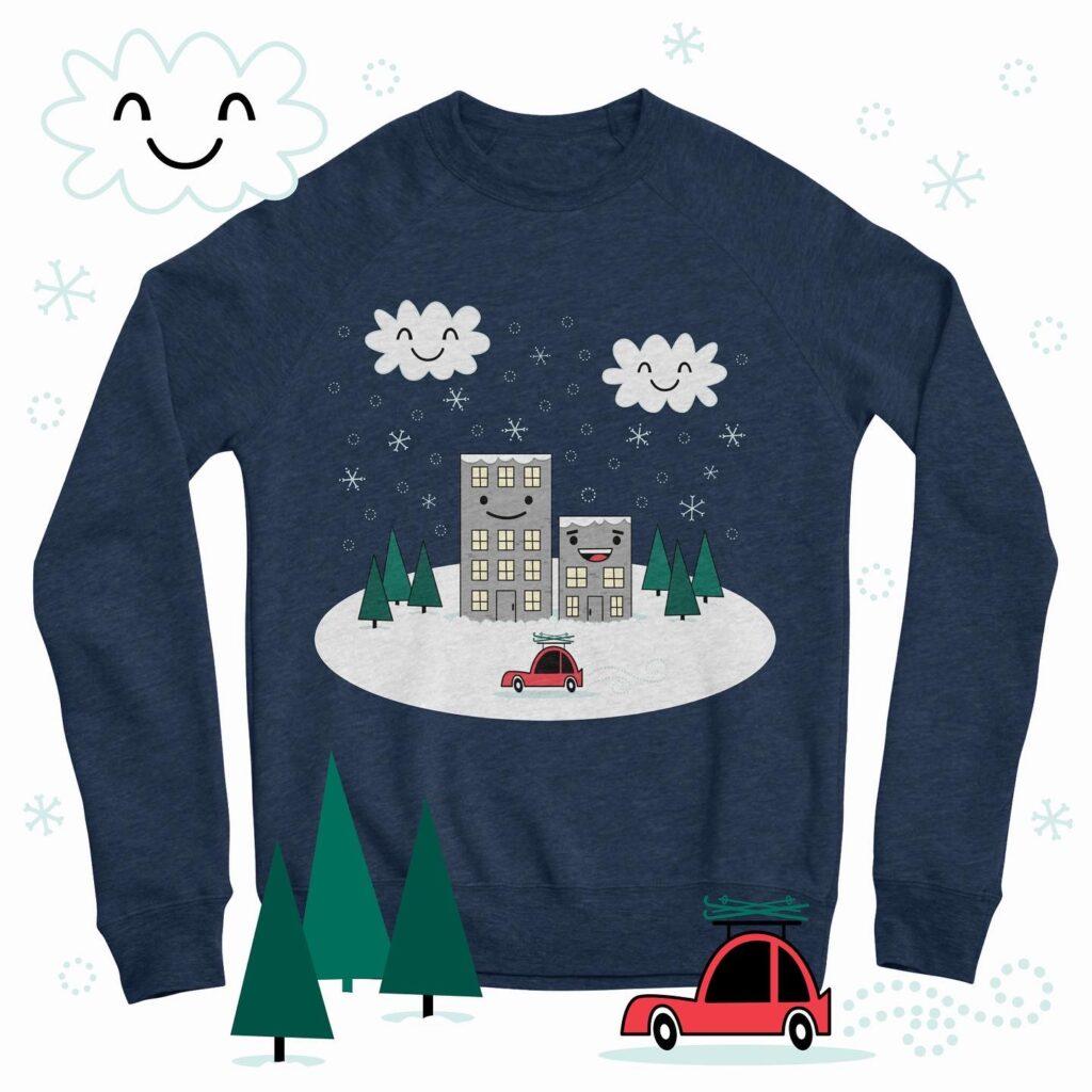 Kawaii Winter Town illustration on sweatshirt