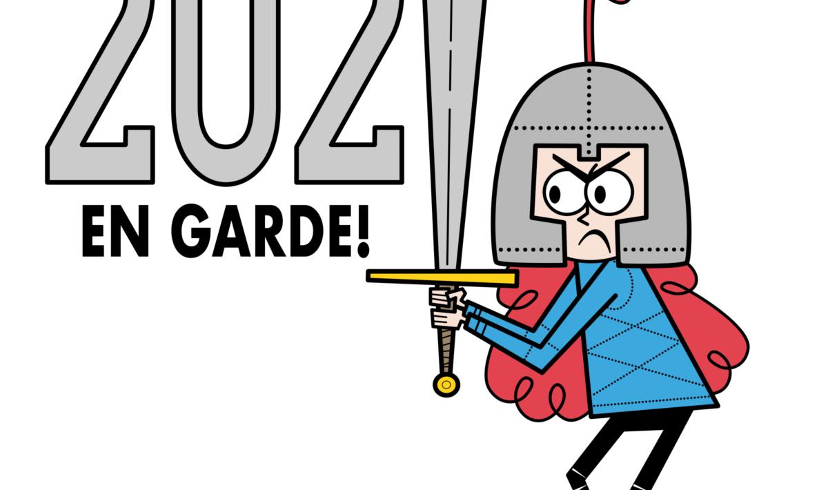 a cartoon lady knight saying en garde