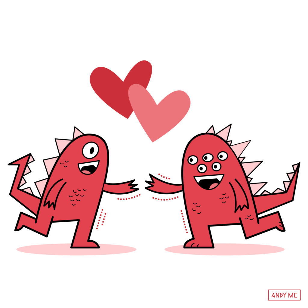 an illustration of cute monsters celebrating Valentine's Day