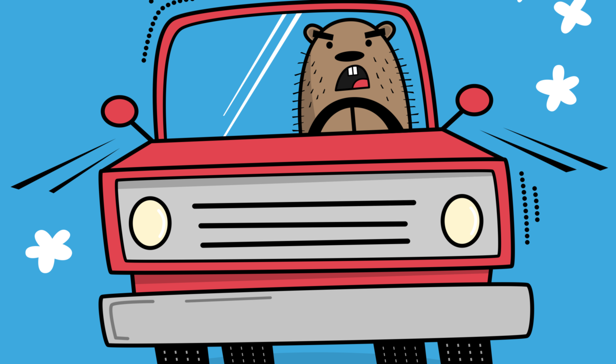 Illustration of a groundhog driving a truck