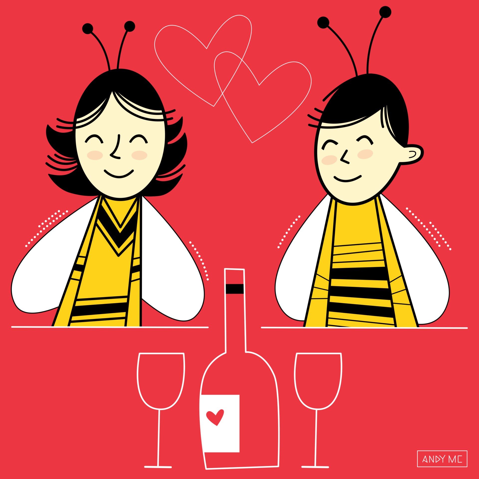 an illustration of a cute honey bee couple