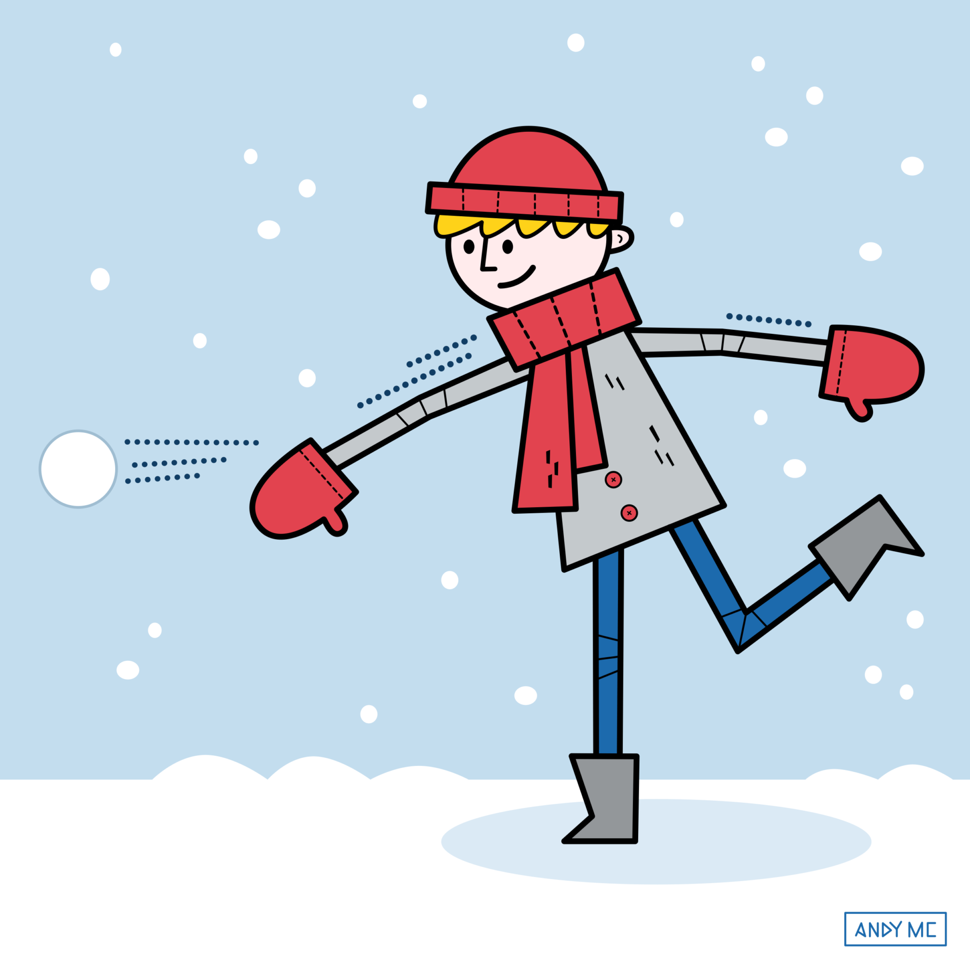 an illustration of a young man throwing a snowball
